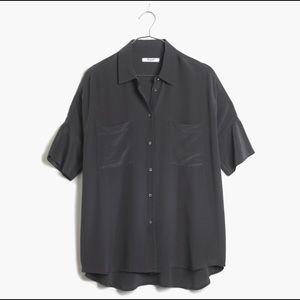 MADEWELL Black Silk Courier Shirt Sz XS
